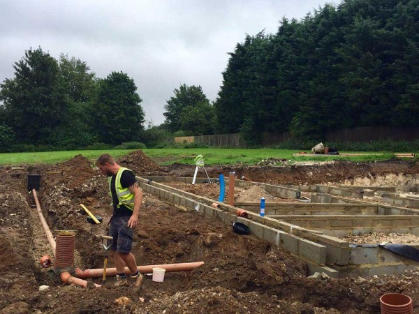 Blockwork for DPC and drainage installation for plot C