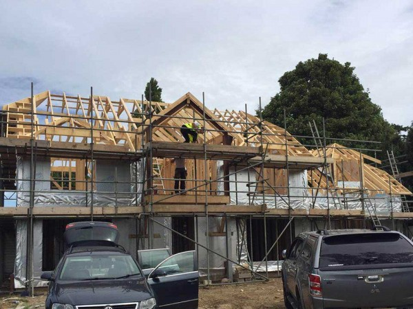 Erection of timber frame
